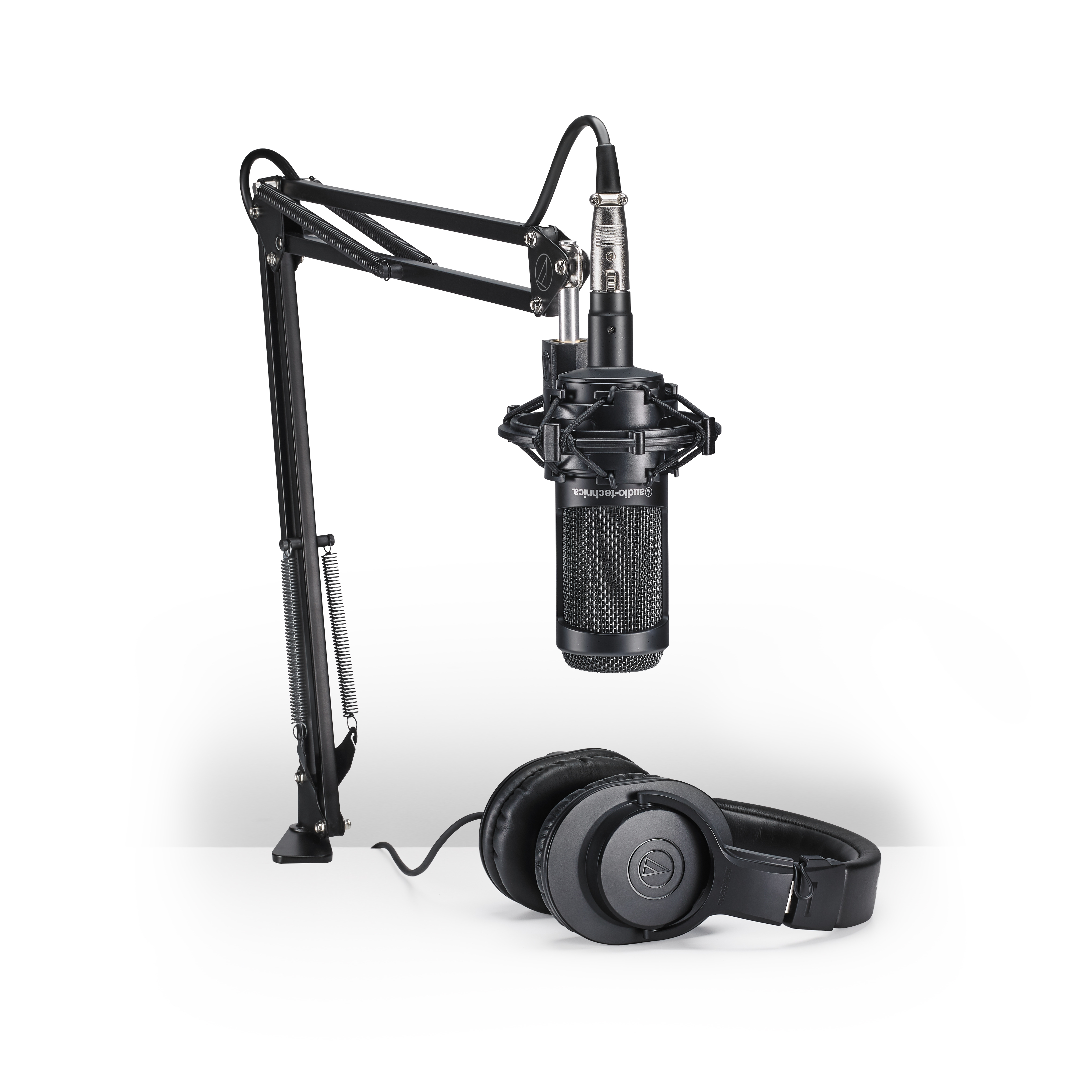 Audio Technica AT2020USB Podcast Podcasting Microphone+Headphones+Boom Arm