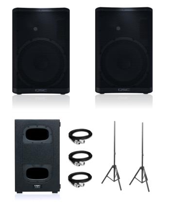 QSC CP12 (Pair) + KS112 (Single) + Speaker Stands and XLR Cables Bundle