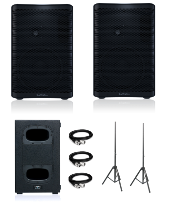 QSC CP8 (Pair) + KS112 (Single) + Speaker Stands and XLR Cables Bundle