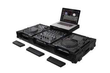 "Odyssey FZGSL12CDJWRBL - All Black 12"" DJ Mixer & Large Format Tabletop Player Coffin"