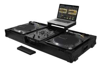 "Odyssey FZGSLBM10WRBL - All Black 10"" Mixer & 2x Turntables in Battle Position Rolling Coffin"