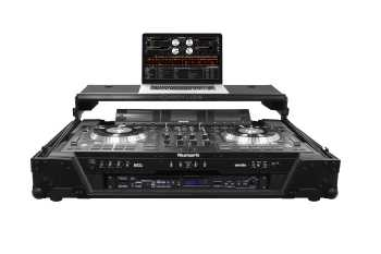 Odyssey FZGSNS73WX1BL - Numark NS7 / NS7II / NS7III All Black Gliding Platform Flight Case