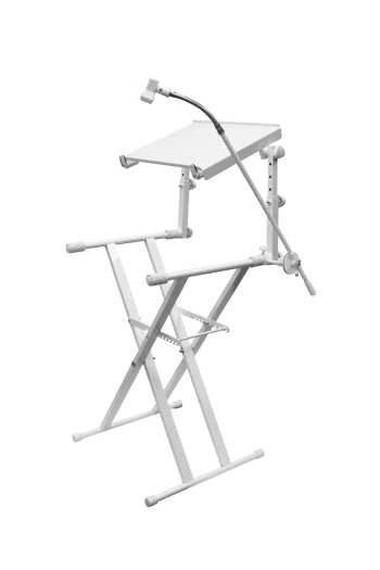 Odyssey LTBXS2MTCPWHT - X-Stand Combo Pack Dual Tier Heavy-Duty Folding Stand With Microphone Boom And Laptop/Gear Shelf