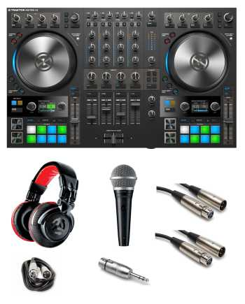 "Native Instruments Traktor Kontrol S4 MK3 ""Gig Ready"" Bundle with Headphones, Mic, Cables and Mic Adaptor"