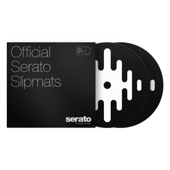 "Serato 12"" DJ Pro Logo Mats - Classic Multi-Purpose Synthetic Felt Slipmat (Pair, White on Black)"