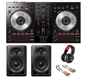 "Pioneer DJ DDJ-SB3 ""DJ Starter Bundle"" With Pioneer DJ DM-40 Monitors, Numark Red Wave Carbon Headphones And RCA Cables"