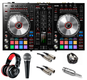 "Pioneer DJ DDJ-SR2 ""Gig Ready"" Bundle with Headphones, Mic, XLR Cables and Mic Adaptor"