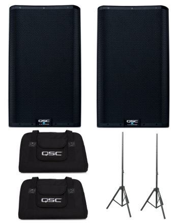 QSC K12.2 (Pair) + K12 Totes + Speaker Stands Bundle