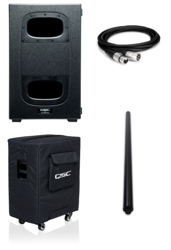 QSC KS212C + KS212C Cover, Pole and XLR Cable Bundle