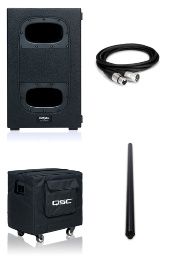 QSC KS112 + KS112 Cover + SP-36 Pole and XLR Cable Bundle