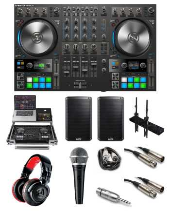 "Native Instruments Traktor Kontrol S4 MK3 ""Party Rocker"" Bundle with Case, Headphones, Mic, Speakers, Stands, Cables and Mic Adaptor"