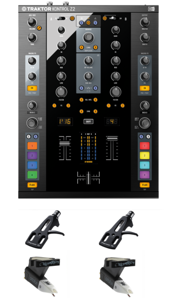 Native Instruments Traktor Kontrol Z2 + Ortofon OM Q.Bert Cartridges and Headshells Bundle