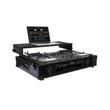 "Odyssey FZGSMCX8000W2BL - Denon MCX8000 All Black DJ Flight Case With Gliding Platform and 19"" 2U Rack Space"