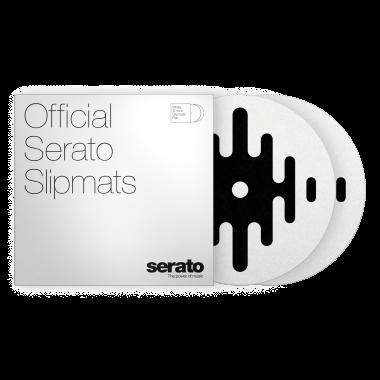 """Serato 12"""" DJ Pro Logo Mats - Classic Multi-Purpose Synthetic Felt Slipmat (Pair, Black on White)"""