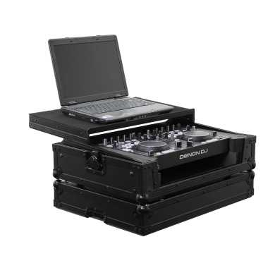 Odyssey FRGSDNMC36000BL - Denon DJ MC3000 / MC6000 / MC6000MK2 All Black Gliding Platform Flight Case
