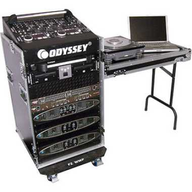 Odyssey FZ1116WDLX - ATA Deluxe Combo Rack with Side Table & Wheels