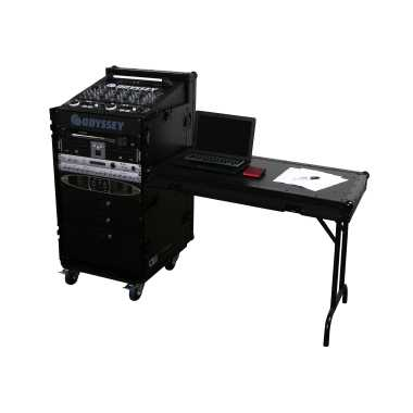 Odyssey FZ1116WDLXBL - All Black Label Deluxe Combo Rack with Side Table & Wheels