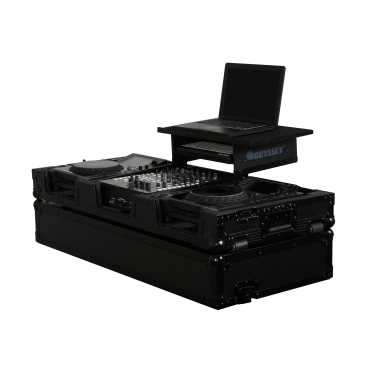 "Odyssey FZGS12CDJWBL - 12"" Mixer and 2 Large Format CD Player All Black Gliding Platform Flight Case"