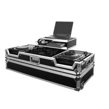 Odyssey FZGS22000W - DJ Mixer and 2 Large Format Player Gliding Platform Coffin Case