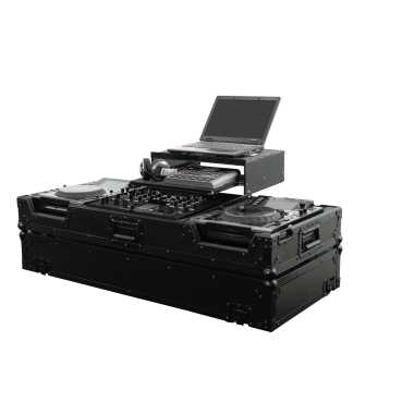 Odyssey FZGS22000WBL - DJ Mixer and 2 Large Format Player All Black Gliding Platform Coffin Case