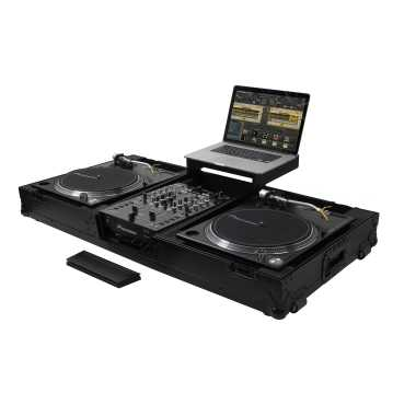 Odyssey FZGSLBM10WRBL - All Black Wheeled Universal Turntable DJ Coffin