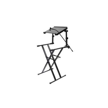 Odyssey LTBXS2MTCP - X-Stand Combo Pack Dual Tier Heavy-Duty Folding Stand With Microphone Boom And Laptop/Gear Shelf