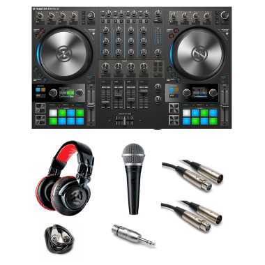 """Native Instruments Traktor Kontrol S4 MK3 """"Gig Ready"""" Bundle with Headphones, Mic, Cables and Mic Adaptor"""