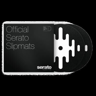 """Serato 12"""" DJ Pro Logo Mats - Classic Multi-Purpose Synthetic Felt Slipmat (Pair, White on Black)"""