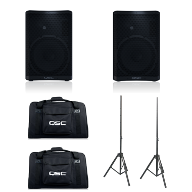 QSC CP12 (Pair) + CP12 Totes + Speaker Stands Bundle