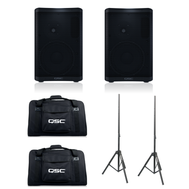 QSC CP8 (Pair) + CP8 Totes and Speaker Stands Bundle