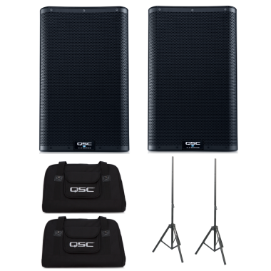 QSC K10.2 (Pair) + K10 Totes + Speaker Stands Bundle