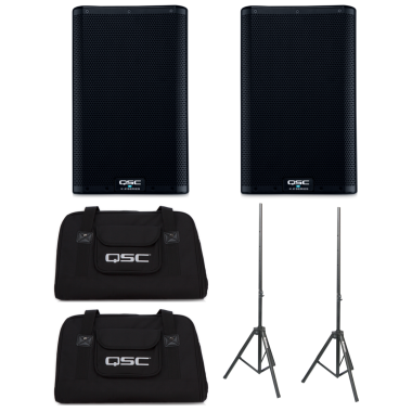 QSC K8.2 (Pair) + K8 Totes + Speaker Stands Bundle