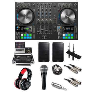"""Native Instruments Traktor Kontrol S4 MK3 """"Party Rocker"""" Bundle with Case, Headphones, Mic, Speakers, Stands, Cables and Mic Adaptor"""
