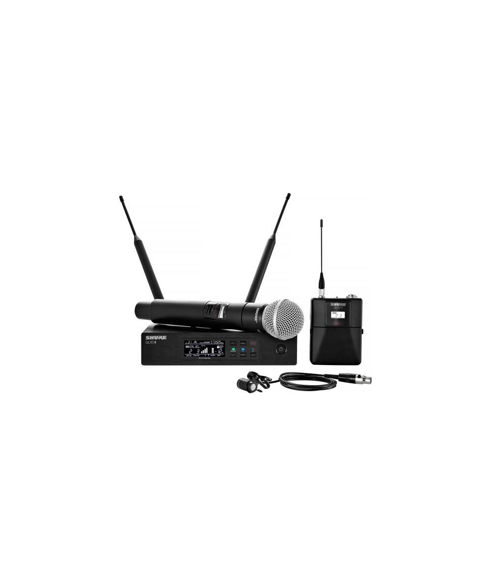 shure qlxd124 85 handheld lavalier combo wireless microphone system the dj hookup. Black Bedroom Furniture Sets. Home Design Ideas